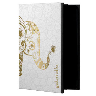 Cute Gold Elephant On White Background