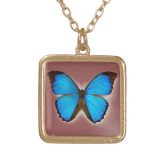 Cute gold finish square necklace with a butterfly