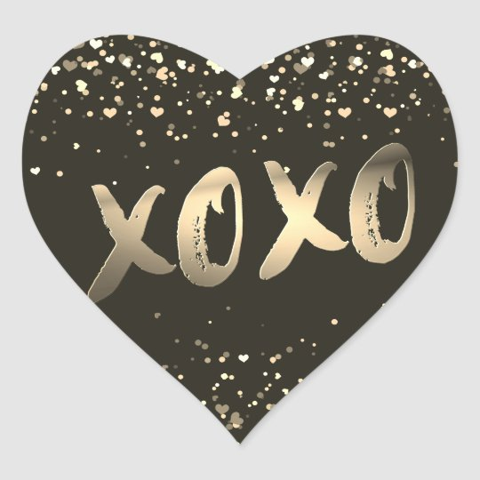 Cute Gold Foil Love XOXO Heart Confetti Modern
