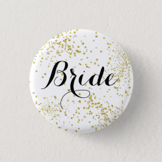 Cute Gold Glitter Bride Button