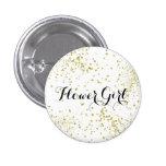 Cute Gold Glitter Flower Girl Button
