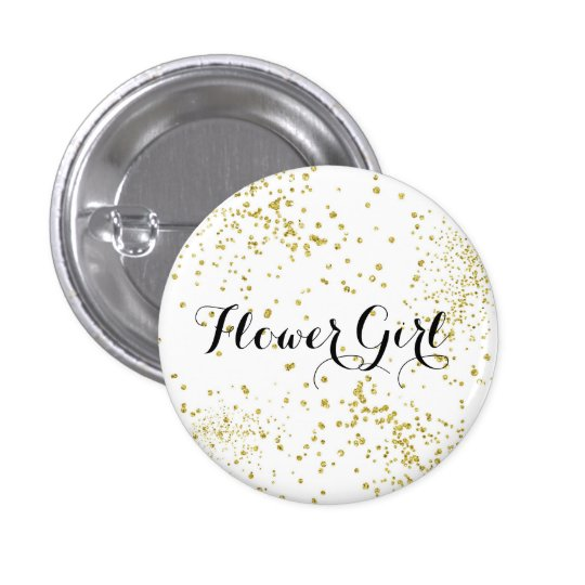 Cute Gold Glitter Flower Girl Button