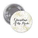 Cute Gold Glitter Grandma of the Bride Button