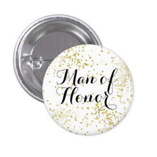 Cute Gold Glitter Man of Honor 3 Cm Round Badge