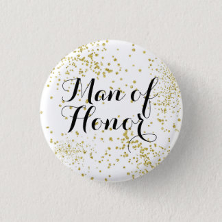Cute Gold Glitter Man of Honour 3 Cm Round Badge