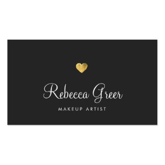 Cute Gold Heart Black Beauty Consultant Pack Of Standard Business Cards