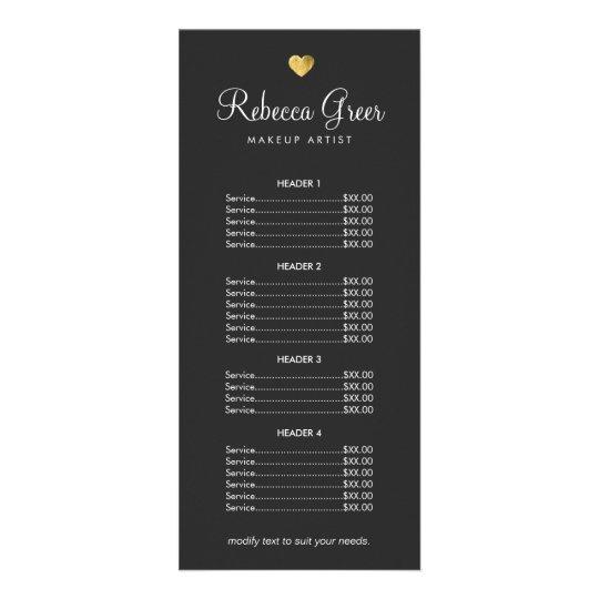 Cute Gold Heart Black Beauty Salon Price List