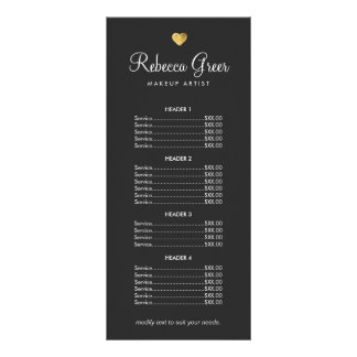 Cute Gold Heart Black Beauty Salon Price List Menu Rack Card