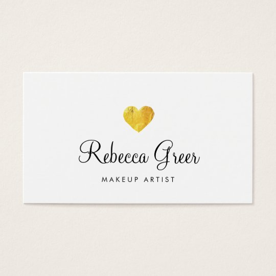 Cute Gold Heart Modern Beauty Consultant White Business