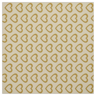Cute Gold Hearts Pattern Cream Fabric