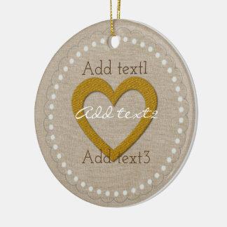 Cute Gold Linen Sweet Heart Baby Kids Christmas Ornament