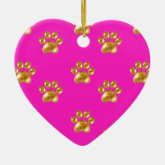 Cute gold paws christmas ornament