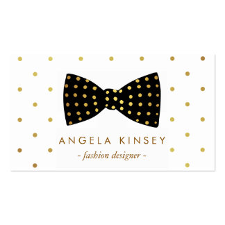 Cute Gold Polka Dots Ribbon Bow Pack Of Standard Business Cards