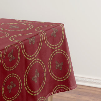 Cute Gold Red Butterfly Pattern Table Cloth