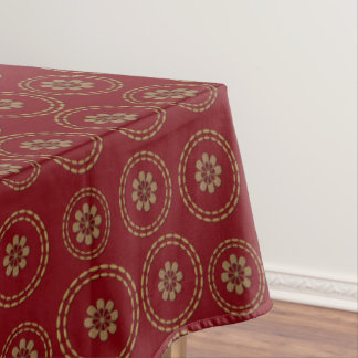 Cute Gold Red Flowers Pattern Table Cloth