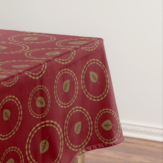 Cute Gold Red Leaves Pattern Table Cloth