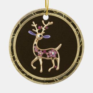 Cute Gold Reindeer Jewel Photo Print Ornament