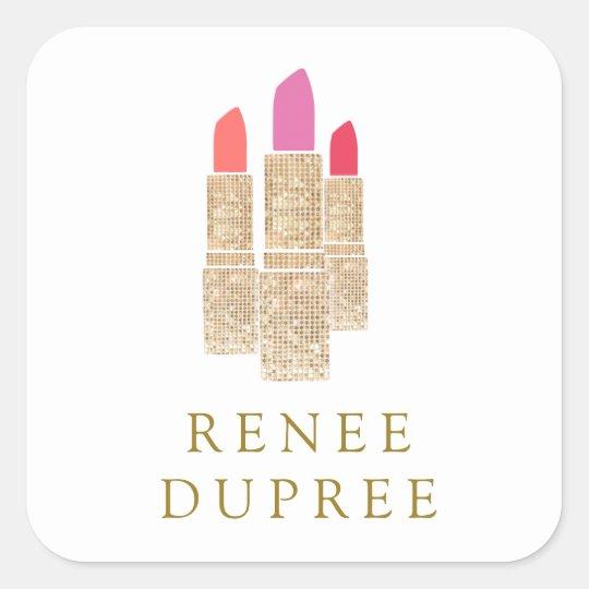 Cute Gold Sequin Lipstick Makeup Artist Beauty Square