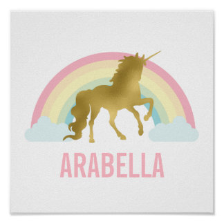 Cute Gold Unicorn Girl's Room Poster