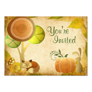 Cute Golden Autumn Woodland Animals Birthday Party 13 Cm X 18 Cm Invitation Card