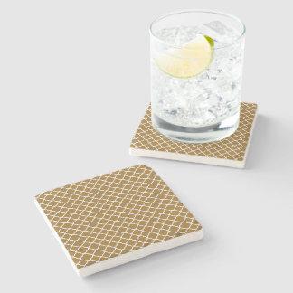 Cute Golden Brown Quatrefoil Maroccan Pattern Stone Beverage Coaster