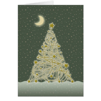 Cute Golden Glowing Christmas Tree Greeting Card