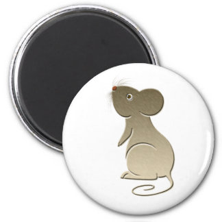 Cute Golden Mouse 6 Cm Round Magnet