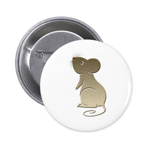 Cute Golden Mouse Pinback Buttons