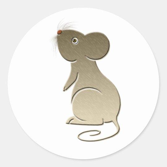 Cute Golden Mouse Round Sticker