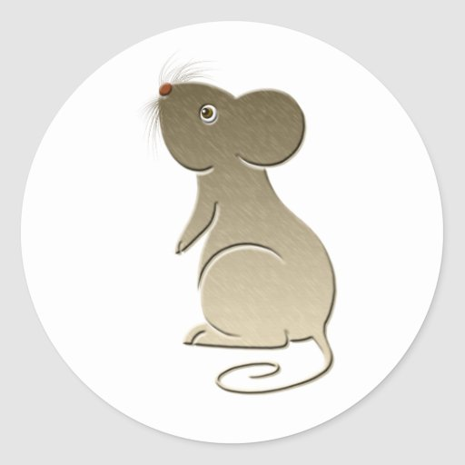 Cute Golden Mouse Round Stickers