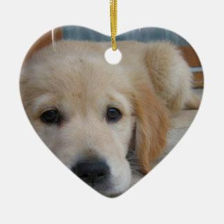 Cute Golden Pup Christmas Ornament