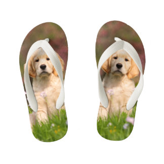 Cute Golden Retriever Dog Puppy Animal Photo  Kids Flip Flops
