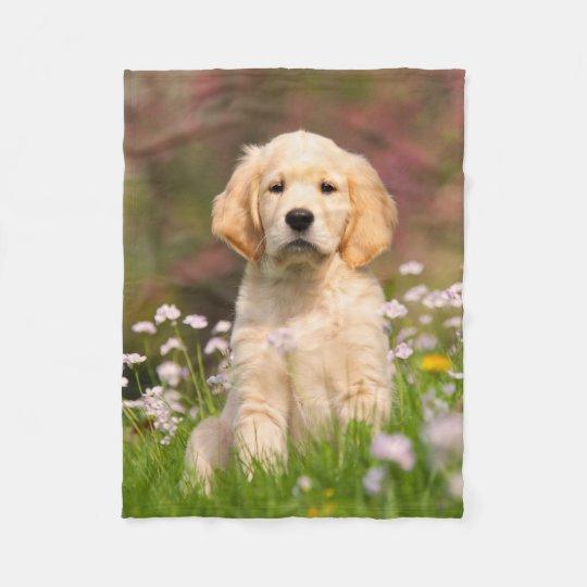 Cute Golden Retriever Dog Puppy, comfy Fleece Blanket