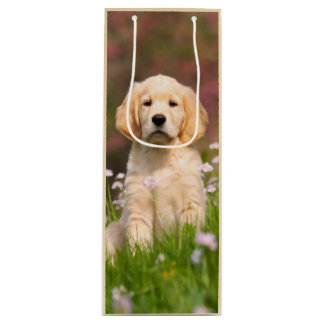 Cute Golden Retriever Dog Puppy Face Animal Photo Wine Gift Bag