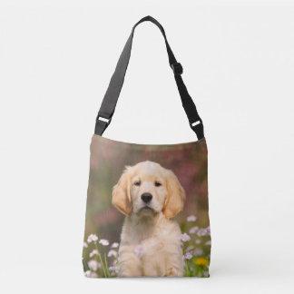 Cute Golden Retriever Dog Puppy Photo - on Crossbody Bag