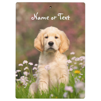 Cute Golden Retriever Dog Puppy Photo Personalized Clipboard