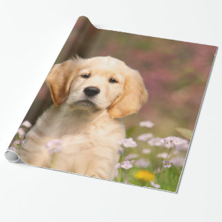 Cute Golden Retriever Dog Puppy Portrait, Gift Wrapping Paper