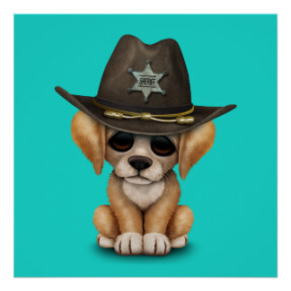 Cute Golden Retriever Puppy Dog Sheriff Poster