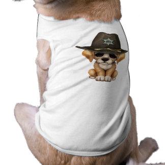 Cute Golden Retriever Puppy Dog Sheriff Sleeveless Dog Shirt