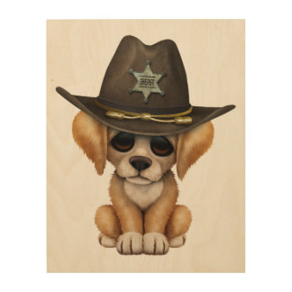 Cute Golden Retriever Puppy Dog Sheriff Wood Canvases