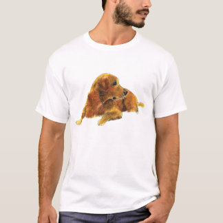 Cute Golden Retriever Watercolour Dog Art T-Shirt