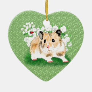 Cute golden Syrian Hamster art gifts accessories Christmas Ornament
