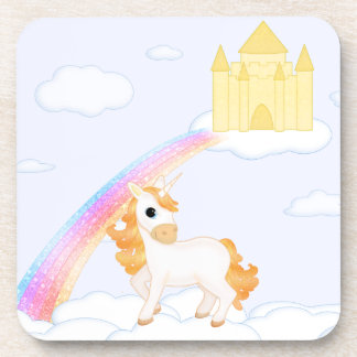 Cute Golden Unicorn with Castle Cartoon Coasters