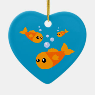 Cute Goldfish Ceramic Heart Decoration