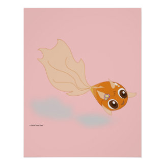 Cute goldfish funny cartoon anime character poster