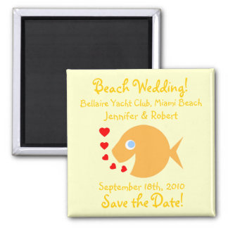 Cute Goldfish Save The Date Beach Wedding Square Magnet