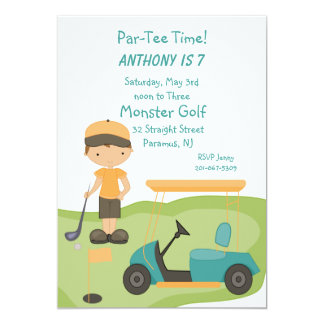 Cute Golf Boys Party Invitation