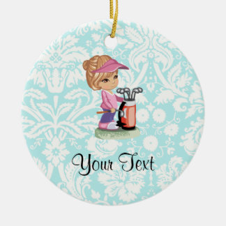 Cute Golf; Damask Pattern Christmas Ornament