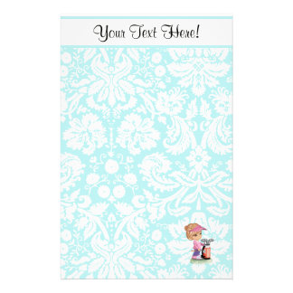 Cute Golf; Damask Pattern Personalised Stationery
