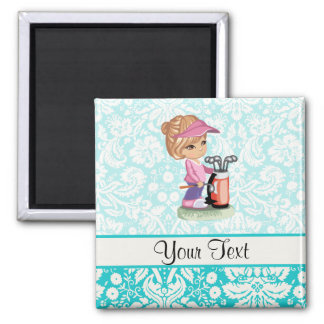 Cute Golf; Damask Pattern Square Magnet